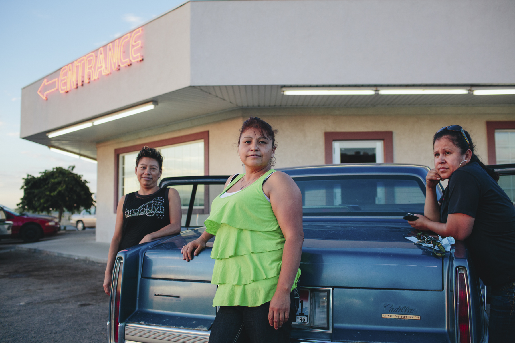 Three Women in Middle America in Front of Diner