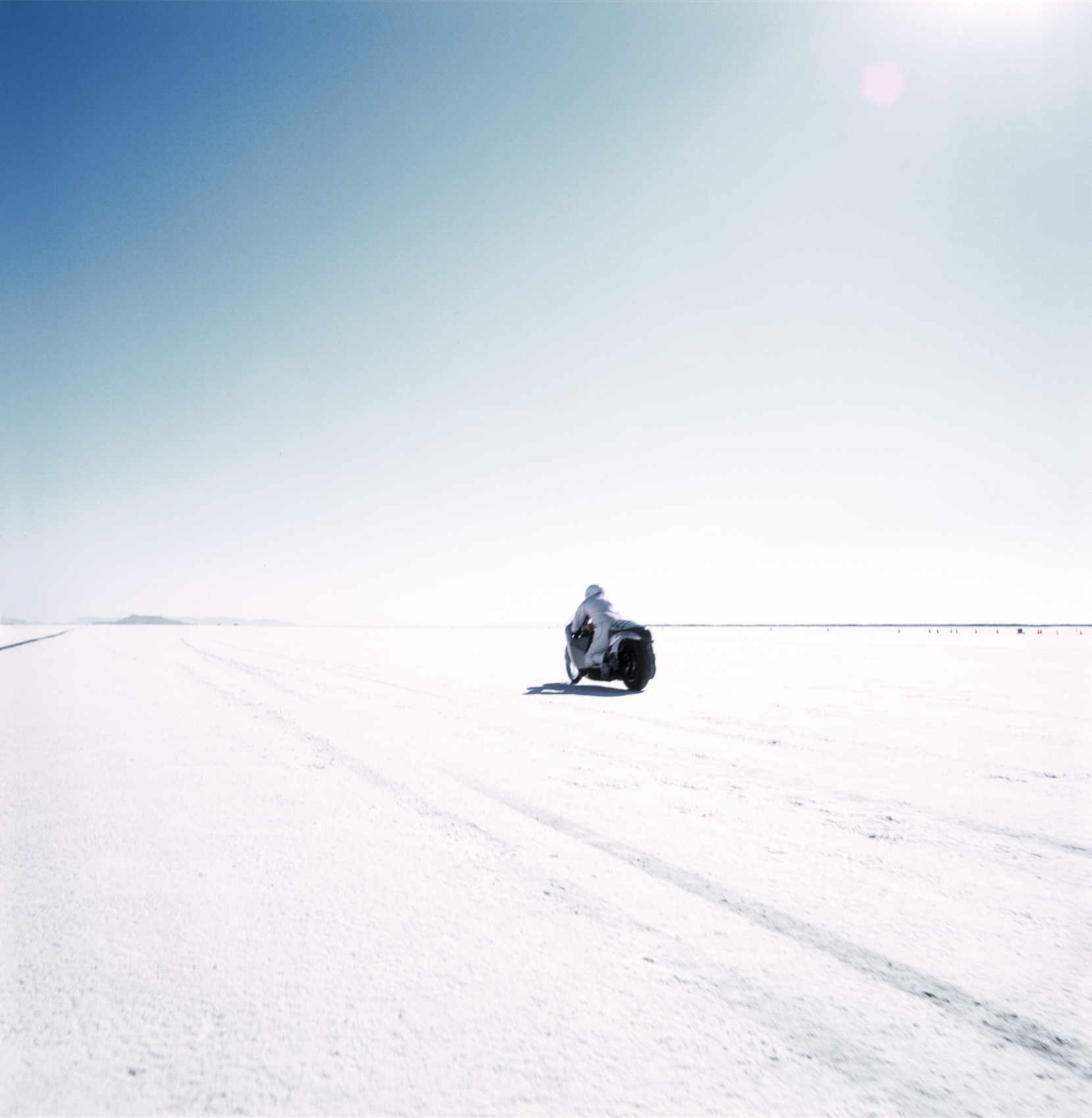 Road Trip - Motorcycle Driving on the Salt Flats
