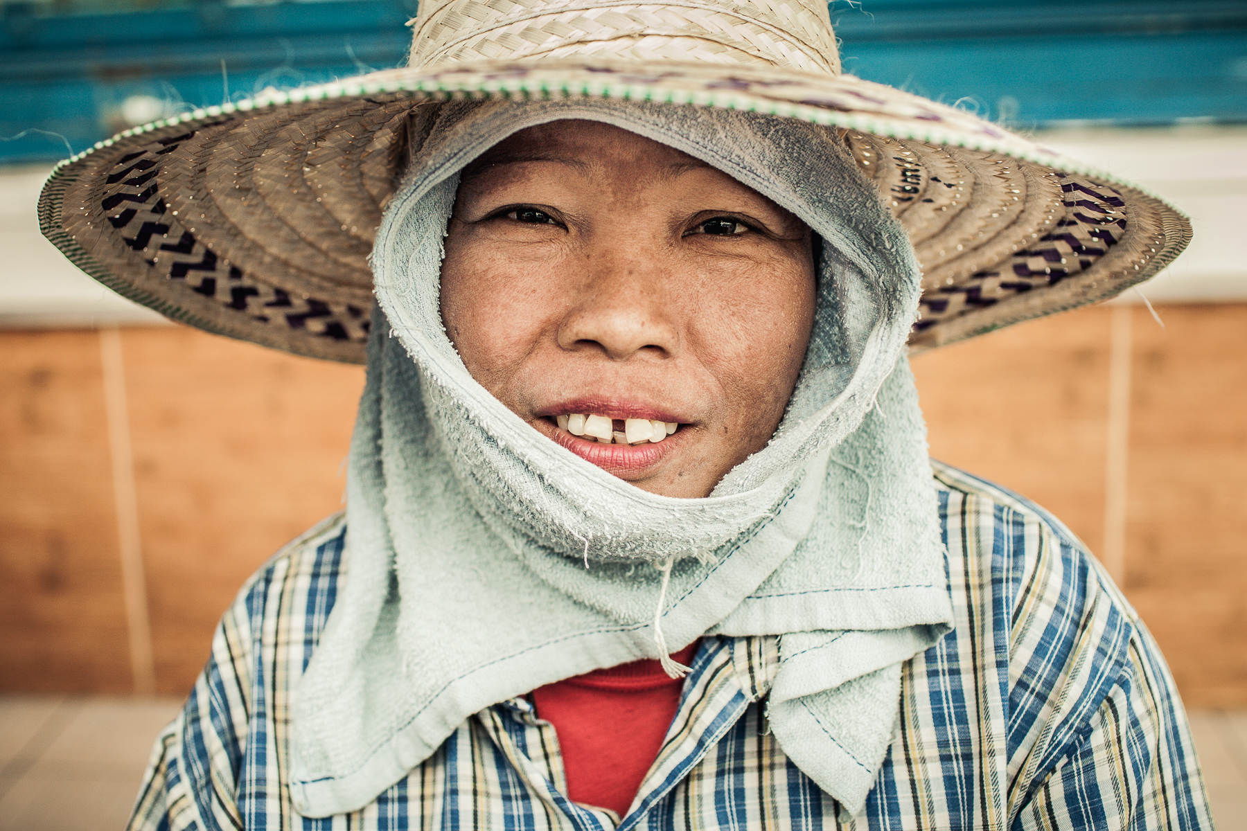 Portrait of Rice Field Worker in Thailand
